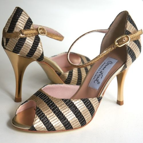 www.felinashoes.com Argentine Tango Shoes from Comme il Faut shoes. Black and gold stripe. leather, gold stiletto. peep toe, gold sole. Sizes 4 (34), Size 5 (35), Size 6 (36), Size 7 (37), Size 8 (38), Size 9 (39), Size 10 (40), Size 11 (41)