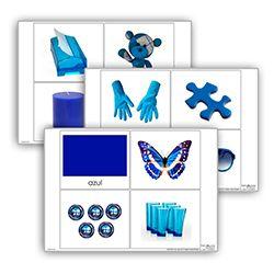 Livro de cor: azul. Cada livro de cor inclui:  1carta com titulo  10 imagens