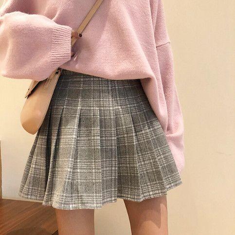 Woolen Plaid Pleated Skirt Pleated Skirt Outfit Short Cute Skirt Outfits Tennis Skirt Outfit