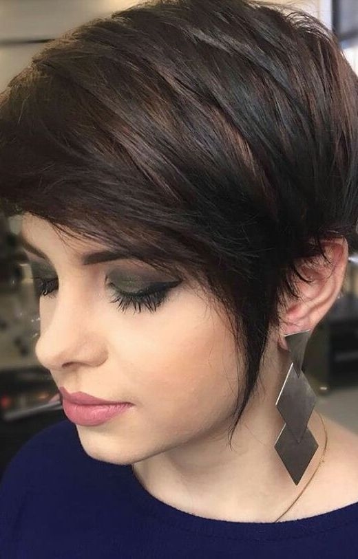 A Long Dark Pixie Haircut With Black Balayage On Chestnut Hair Latest Short Hairstyles Thick Hair Styles Short Hairstyles For Thick Hair