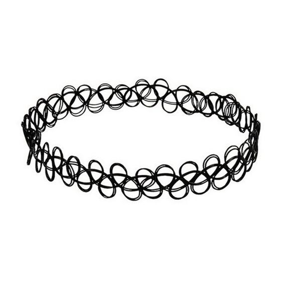 JQUEEN Black Gothic Stretch Elastic Double Line Henna Tattoo Choker Pendant Collar Necklace for 80s 90s