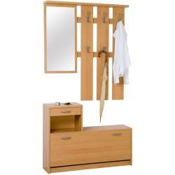 Garderoben Set Herakles Buche Garderobe Spiegel Schuhschrank