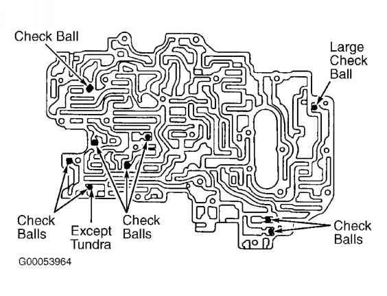 Fig 59 Identifying Upper Valve Body Check Ball Locations Tacoma Tundra V6 4runner A340f Courtesy Of Toyot Automotive Repair Shop Automotive Repair Valve
