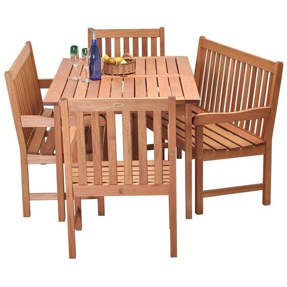 Amazonia Roma 5-pc. Bench Dining Set ($1,349) ❤ liked on Polyvore featuring home, outdoors, patio furniture, brown, outdoor dining sets, contemporary outdoor furniture, outdoor furniture, eucalyptus patio furniture and outdoor dining table set