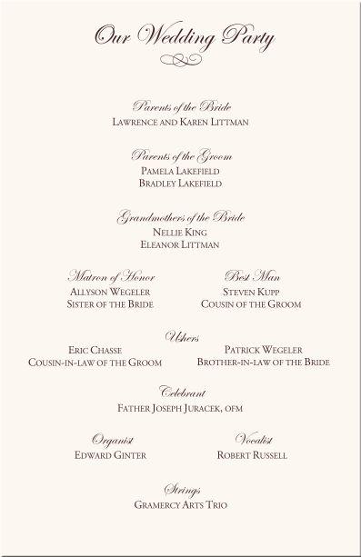 wedding programs order
