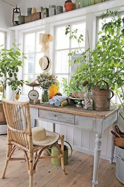 Would Bea call this room shabby chic or rustic country? Either way, it has plenty of garden-inspired details, from bright green plants to vintage watering cans. The perfect way to bring the outside in.