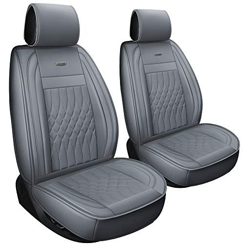 Luckyman Club 2 Pcs Gray Car Seat Covers Fit Most Sedan Suv Truck Fit For Ford F150 F350 Esca Seat Covers Grey Car Seat Leather Seat Covers