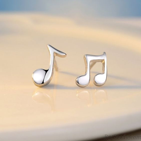 Asymmetrical Sterling Silver Music Note Polishing Minimalism Earrings only…
