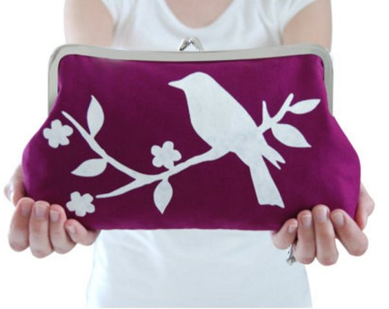 Screenprinted Purple Clutch with White Bird