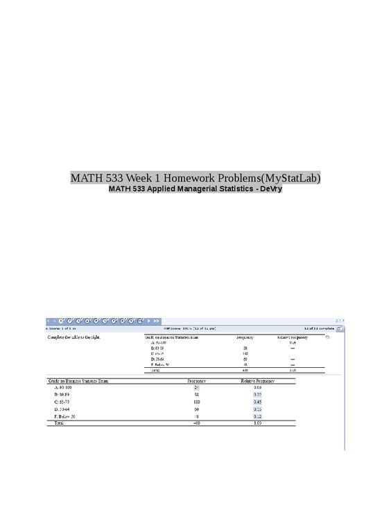 Mystatlab homework answers