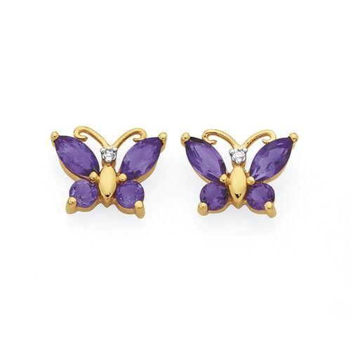 9ct Gold Amethyst & Diamond Butterfly Stud Earrings