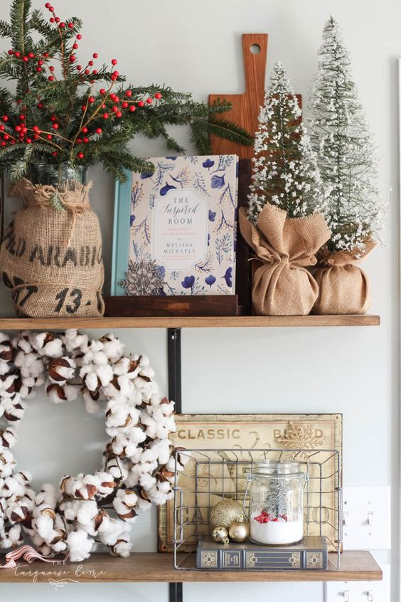 Gorgeous farmhouse shelves all decorated for Christmas and Kitchen Decor with DIY Christmas Kitchen Wreaths!