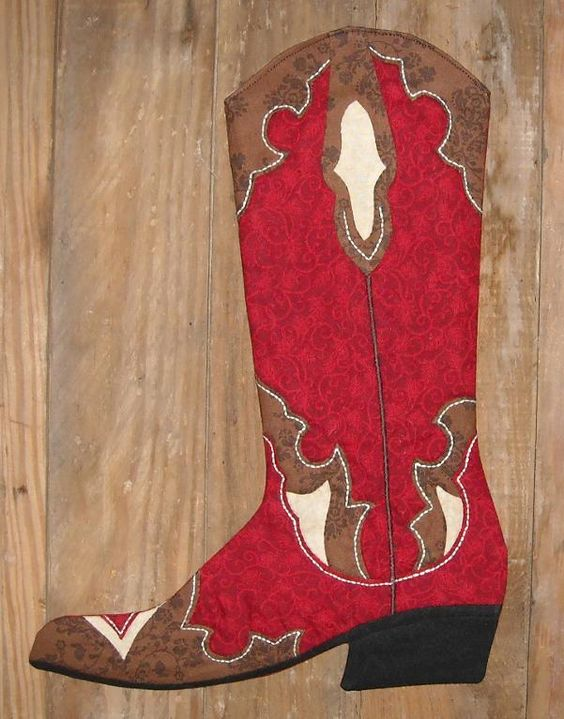 (9) Name: 'Sewing : 2011 Cowboy Boot Christmas Stocking
