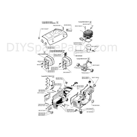 diagrams of chainsaws | Husqvarna 61 Chainsaw (1997) Parts ...