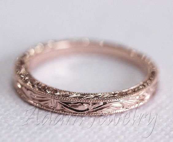 Design antique 14k or / Rose or / jaune or bandeau blanc Ring / bande / promettent Ring / bague de fiançailles