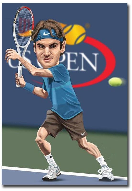 4 5 Roger Federer Tennis Player Cartoon Fridge Magnet Collectible Size 2 5 X 3 5 Ebay Collectibles Funny Caricatures Caricature Cartoon Faces