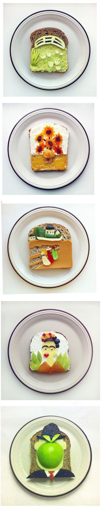 Homemade toast art. Monet, Van Gogh, Munch, Kahlo, Magritte