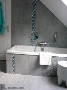 Salledebain sdb bathroom baignoire deco bleu - Accessoire salle de bain bleu ...