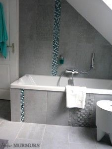 Salledebain sdb bathroom baignoire deco bleu - Salle de bain noir et turquoise ...