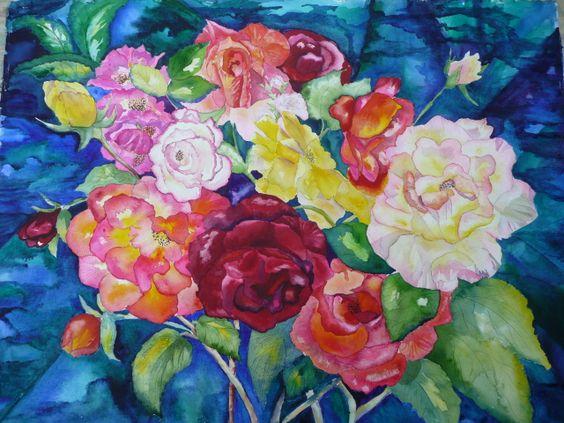 My Garden Roses - By Watercolour Artist Sherren MacLeod