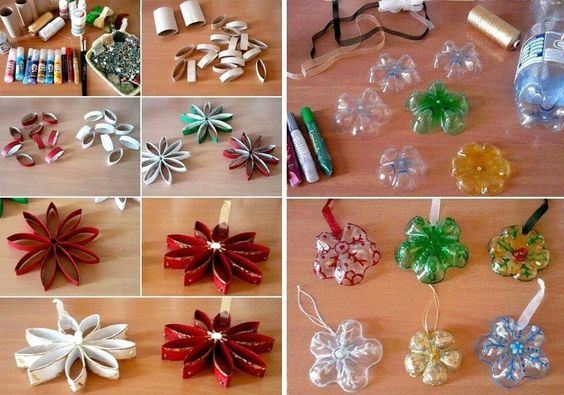 Christmas decorations made from toilet paper rolls and for Christmas decor using plastic bottles