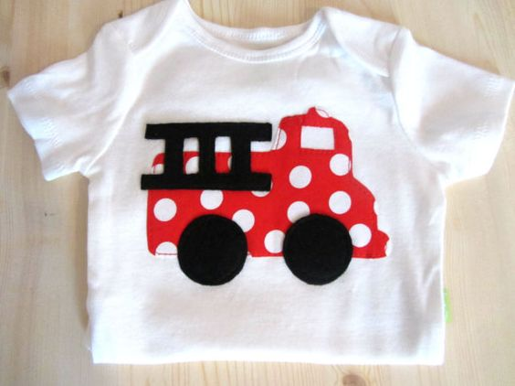 Baby Boy Clothes Baby Boys Fire Truck Shirt Red Fire