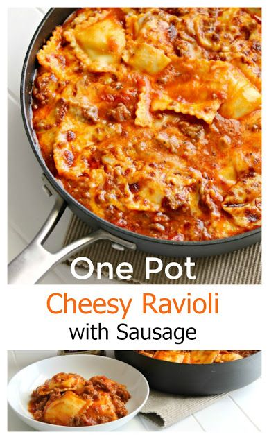 Make dinner a snap with a one pot pasta dish! Easy, cheesy ravioli with sausage is ready in 15 minutes ad