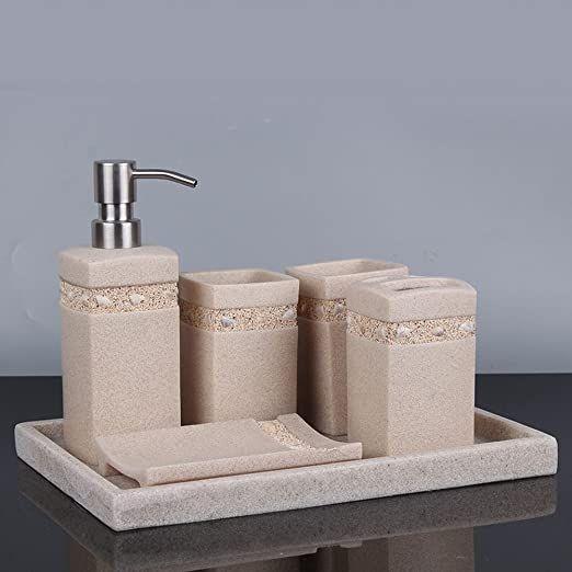 Wu Bathroom Suite Creative Sandstone Bathroom 6 Piece Simple Resin Tray Vanity Sets The Brush Bathroom Accessory Set Modern Style Bathroom Bathroom Accessories
