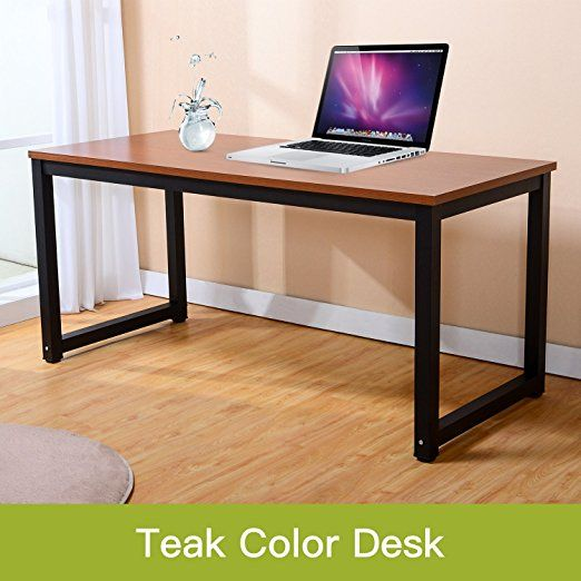 Modern Simple Style Computer Desk Pc Laptop Study Table Office Desk Workstation For Home Office Teak Black Leg Modern Computer Desk Simple Desk Office Desk
