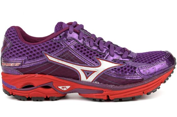 MIZUNO Wave Rider 15 Women 410460 7W73    Bright Violet / Silver / Barite    Mizuno is proud to recognize the 15th anniversary of the Wave Rider, one of the original running shoes that put our patented award-winning Wave Technology on the map.Throughout its history, the Wave Rider franchise has served as the pinnacle of our footwear line, setting the standard for less bulk, while offering simultaneous cushioning and stability.