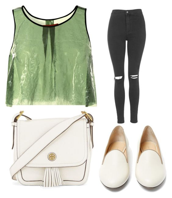 """""""Trending 496"""" by ayannap ❤ liked on Polyvore featuring Clover Canyon, Topshop, Tory Burch and Charlotte Olympia"""