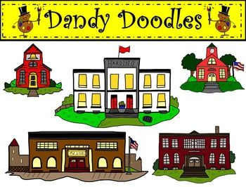 School Buildings Clip Art by Dandy Doodles | Colors, Little red and We