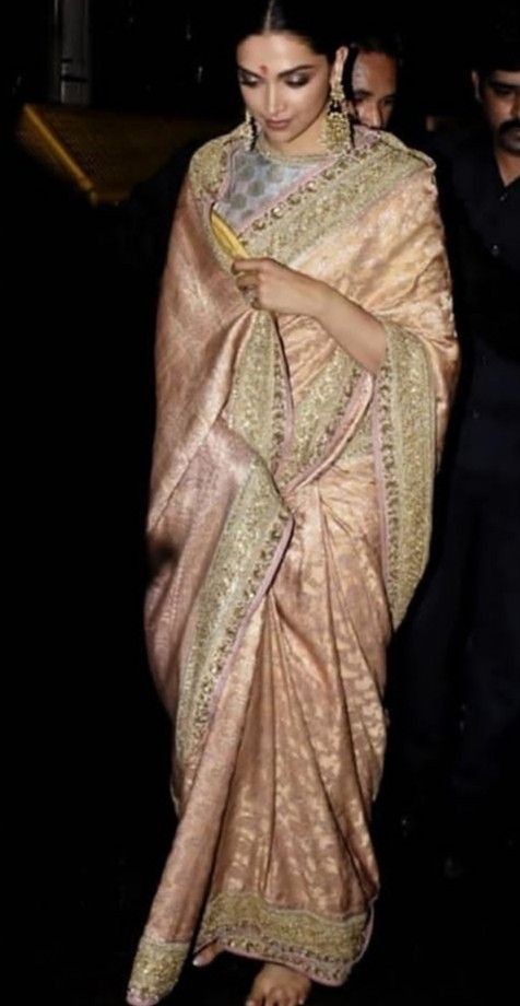 Deepika In Old Rose Golden Saree By Sabhyasachi Deepika Padukone Saree Saree Sabyasachi Sarees