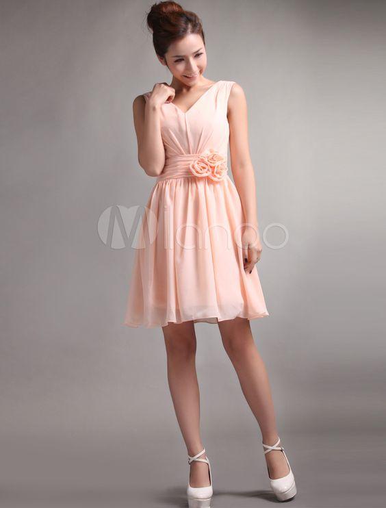 robe soutenue demoiselle d 39 honneur a ligne rose de p che col v en chiffon avec fleur style mini. Black Bedroom Furniture Sets. Home Design Ideas