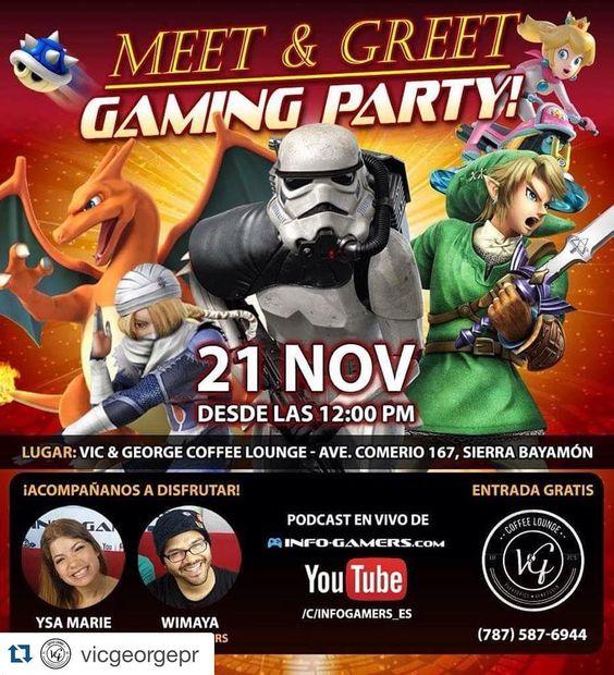 #Repost @vicgeorgepr with @repostapp.  #share #gamer  Este sábado 21 de noviembre desde las 12:00pm estaremos ofreciendo un Gaming Party en donde podrás jugar el nuevo juego de 'star wars' y disfrutar junto a Ysa Marie y Wimaya; quienes estarán haciendo su propio podcast a través de youtube. Ven y disfruta de un ambiente diferente y exclusivo al estilo Gamer! TE ESPERAMOS...@infogamers_es @vicgeorgepr @yosueelactivao @doriloli @dianamonsters #VGcoffeelounge #Puertorico #Bayamón