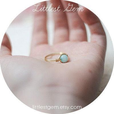 Aqua Jade Ring Brass ring wire wrapped jewelry by littlestgem