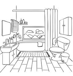 Bathroom Vector Drawing Room Interior Interior Design Sketches Bathroom Drawing