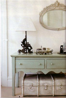 Love the suitcase under the table. & mirror!