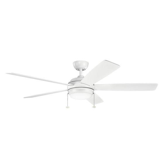 Kichler Lighting Starkk Collection 60-inch Matte White LED Ceiling Fan (Glass)