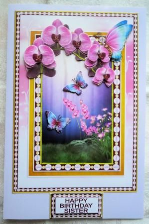 Orchid Butterfly Fantasy on Craftsuprint designed by Hilary Hallas - made by Sharon Wilson -  pn photo paper and cut out pieces. Put main sheet on lavendar background. Added deco pieces and greeting with foam pads. What a stunning card design by Hilary Hallas cup623237_819 - Now available for download!
