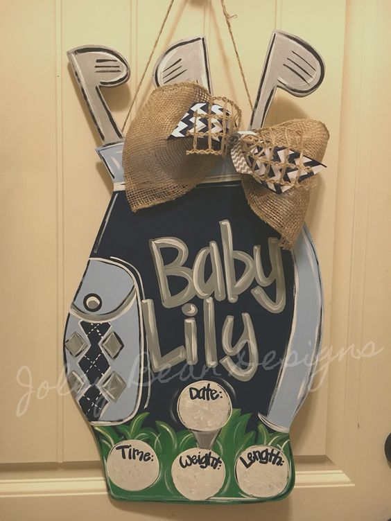 Joley Bean Designs, baby door hanger, golf, golf bag, nursery