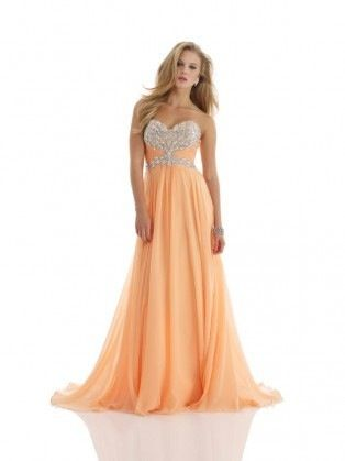 Peach prom dress examples. Check out our online boutique for ...