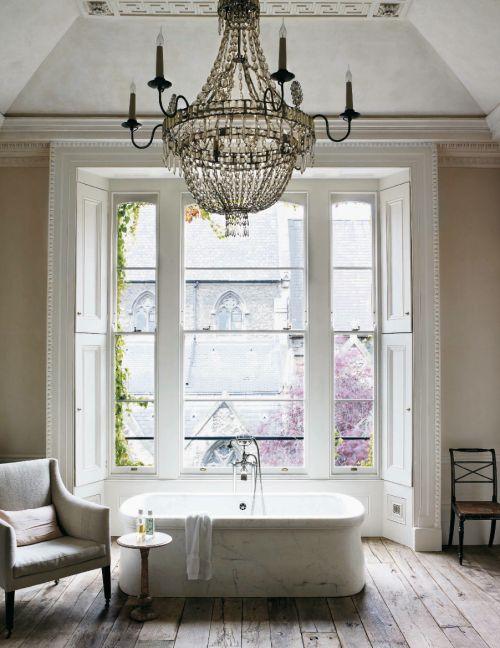 #chandelier | #bathroom #bathtub