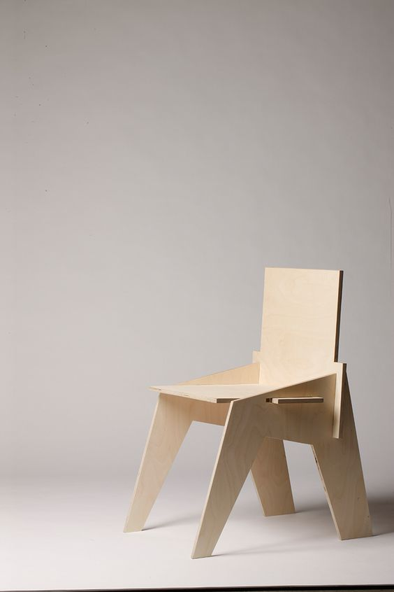 Very basic 4 pieces plywood chair by marius harter for Chair design basics