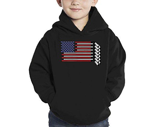 Toddler Little Boy American Flag Made with Hockey Sticks and Puck Hoodie Sweatshirt 4T BLACK *** More info could be found at the image url.
