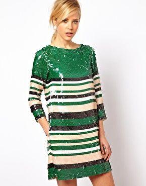 ASOS Shift Dress In Stripe Sequin