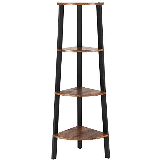 Songmics Vintage Corner Shelf 4 Tier Bookcase Storage Rack Plant Stand For Home Office Wood Look Accent Furniture With Metal Frame Ulls34x Corner Shelves