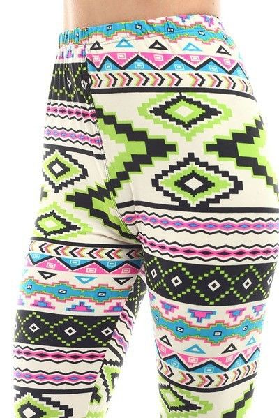 LEGGINGS - TRIBAL PRINT - NEON GREEN HIGHLIGHT COLOR