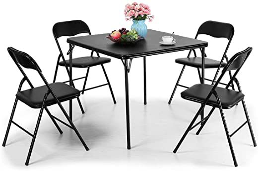 Tobbi 5 Piece Folding Table And Chairs Set Multipurpose Kitchen Dining Games Table Set In 2020 Folding Table Card Table And Chairs Chair Set