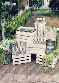 www.kamalion.com.mx - Decoración / Busca tu Mesa / Azul / Blue / Vintage / Rustic Decor / Bautizo / Placing Cards / Macetas / Favors / Plants.